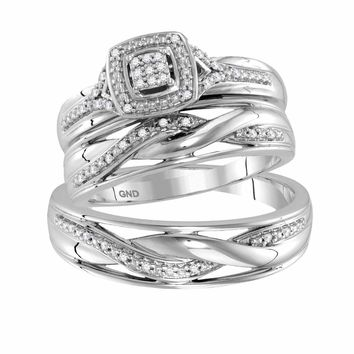 10kt White Gold His & Hers Round Diamond Cluster Matching Bridal Wedding Ring Band Set 1/10 Cttw