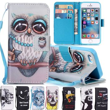 For iPhone 5 Cover Case Leather Flip Cover For Apple iPhone 5s Case Leather Wallet + Silicone For iPhone 5se Case Card Holder