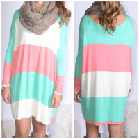Three's Company Mint Colorblock Shift Dress