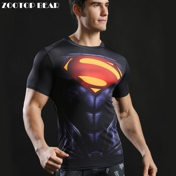Superhero Tops Men Compression Bodybuilding T shirts Muscle Fitness Streetwear Black Fashion Casual T-shirts 2017 ZOOTOP BEAR