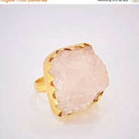 20% Off Mothers Day Sale Natural Stone Ring - Rose Quartz Ring - Handmade Ring - Rough Stone Ring - 18K Gold Plated Ring - Metalsmith Ring -