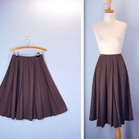 Vintage 1960's Skirt / Classic Brown Pleated Skirt / medium