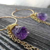 Amethyst Point Hoop Earrings