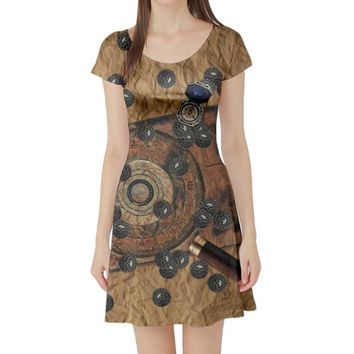 Adult Pirates of the Caribbean Inspired Short Sleeve Skater Dress