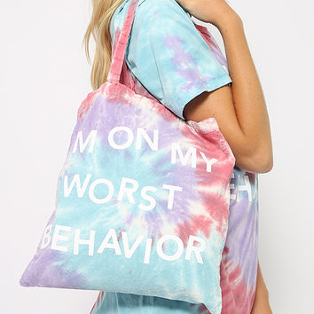 Jac Vanek - Worst Behavior Tote Bag - Tie Dye