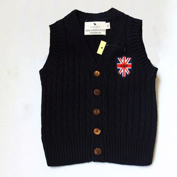 2015 Spring And Autumn Boy Vests 100% Cotton Vest Knitted Cardigan Coat Boy's Sweater Vest Boys Waistcoat Free Shipping