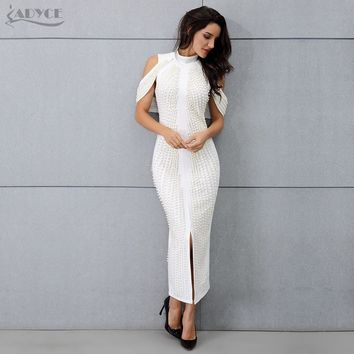ADYCE New Celebrity Evening Party Dress Woman Sexy Beadings Turtleneck Sleeveless Long Mid-Calf Dress Back Split Club Dress