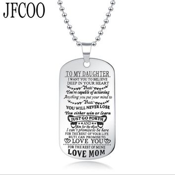 To My Son Daughter I Want You To Believe Love Dad Mom Pendant Necklace Family  Necklace Jewelry