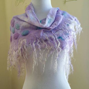 Nuno Felted Textured Shawl in Lilac and Teal. Soft Spring Silk Wrap. Wearable Art Lightweight Scarf. Woodland Fairy. Boho Accessory.