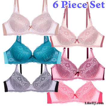 Buy 1 get 5 freeof  6 Colors Removable straps Two tone lace bra #8983