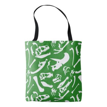 Dinosaur Bones (Green) Tote Bag