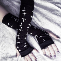 Lothaire Arm Warmers - Black w/ Small White Crosses - Yoga Gothic Unisex Hooping Bellydance Vampire Fetish Victorian Lolita Goth Cross