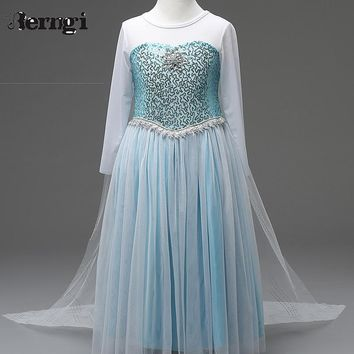 Retail Girl Sequins Elsa Dress Costomes Party Cosplay Dress Anna Girl Dress Princess Elsa Floor Length Costume for Children 3-8Y
