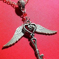 Silver Flying Heart Key Necklace - Tibetan Silver Key and Wings with Red Swarovski Crystal - Valentine's Day Gift