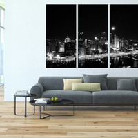 pittsburgh art Canvas Print, extra large wall art, citycape art, pittsburgh skyline large wall art, pittsburgh contemporary wall decor t112