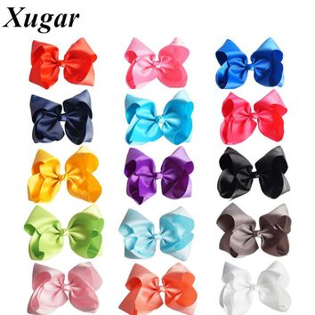 8'' Handmade Solid Grosgrain Ribbon Large Hair Bow For Girls Kids Fashion Hair Accessories With Clip