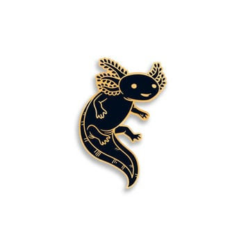 Axolotl Hard Enamel Pin - Gold and Black - Lapel Pin Cloisonné Badge