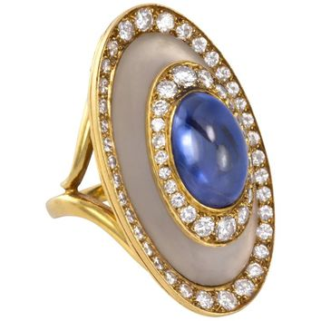 Bulgari, 1970s Diamond, Rock Crystal, Sapphire and Gold Ring
