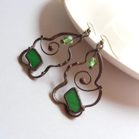 Stained glass earrings, statement jewelry, contemporary copper wire earrings, green stained glass, artistic jewelry, christmas gift, beaded