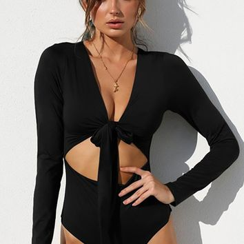 Always Outstanding Long Sleeve Plunge V Neck Tie Front Cut Out Waist Bodysuit Top - 5 Colors Available