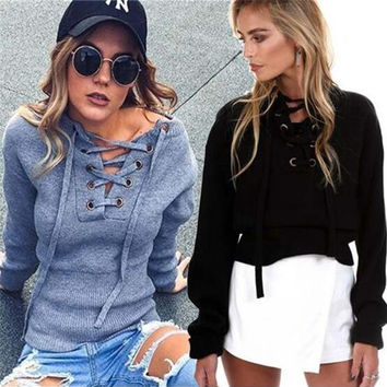 Gray Cross Lace V Neck Knitted Sweater Tops 12739