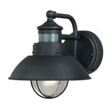 Shop Portfolio Chesapeake 9.25-in H Textured Black Motion Activated Outdoor Wall Light at Lowes.com