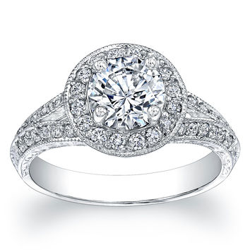 Ladies 18kt white gold split band antique engagement ring 0.30 ctw G-VS2 diamonds and 1.60ct Round White Sapphire center