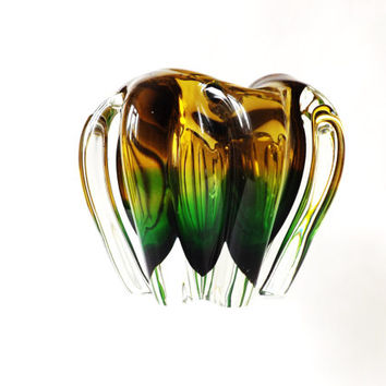 Midcentury Murano Freeform Bowl, Sommerso Cased Glass, Hand Blown Green and Amber Art Glass, Mod Retro Decor, Green Interior, 1960 Ash Tray