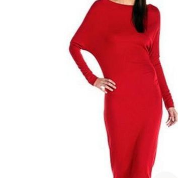 2017 Fall winter Women's Lady Batwing Long Sleeve Stretch Bodycon Long Maxi Dress Evening party dress comes in Red and black. sizes Small - X large