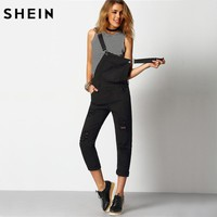 SHEIN Women Jumpsuit Denim Overalls 2016 Spring Autumn Black Strap Ripped Pockets Full Length Denim Jeans Jumpsuit
