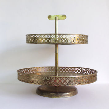 vintage lazy susan // vintage serving tray // mid century modern platter // art deco dessert tray // two tier metal tray // spinning plate