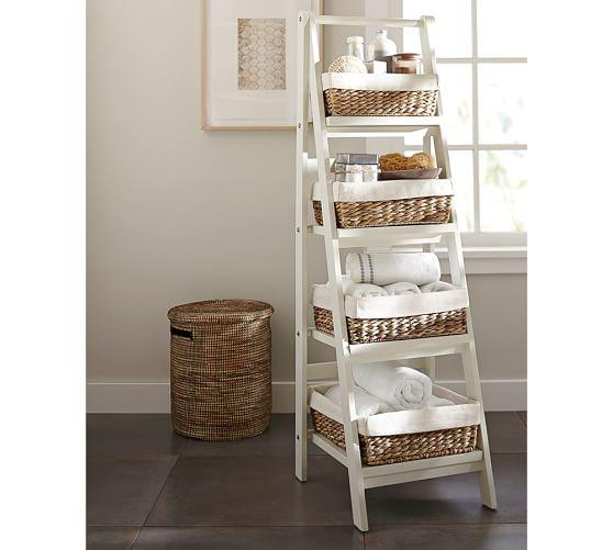 ainsley ladder floor storage with baskets from pottery barn for. Black Bedroom Furniture Sets. Home Design Ideas