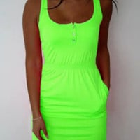 Neon Button Detail Mini Dress