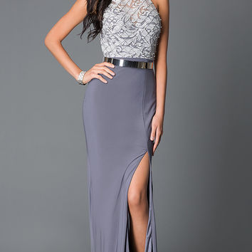 Grey Open Back High Neck Belted Long Prom Dress With Belt
