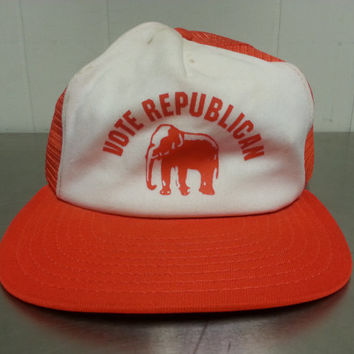Vintage AJD 1970's Vote Republican Snapback Trucker Hat Elephant Republican National Convention Ironic Hipster Hat Cap Dad Hat