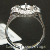 7.5-8.5mm Round Cut Solid 14K White Gold Diamonds Semi Mount Pearl Ring Settings