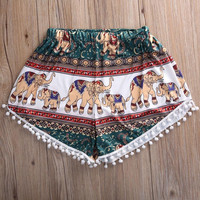 Feitong Summer Women High Waist Shorts 2017 Fashion Boho Elastic Waist Tassels Elephant Print Beach Casual Mini Shorts Feminino