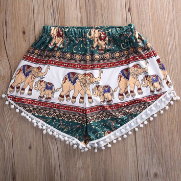 Feitong Women Summer High Waist Shorts 2016 Fashion Boho Elastic Waist Tassels Elephant Print Beach Casual Mini Shorts Feminino