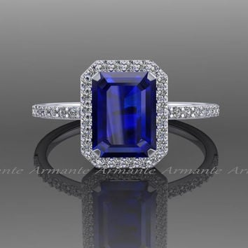Blue Sapphire Emerald Cut Engagement Ring, Diamond Ring