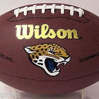 JACKSONVILLE JAGUARS LOGO WILSON COMPOSITE LEATHER FULL SIZE FOOTBALL