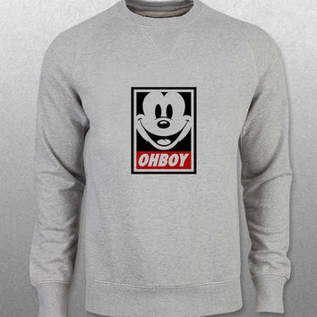 mickey mouse sweater Gray Sweatshirt Crewneck Men or Women Unisex Size with variant colour