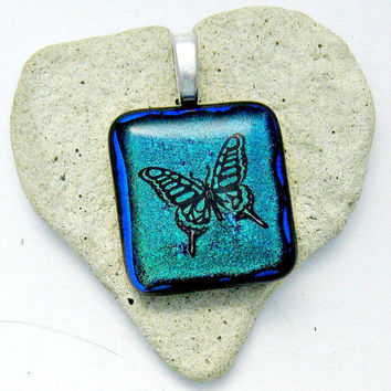 Fused Glass Jewelry /  Dichroic Pendant / Fluttering Butterfly