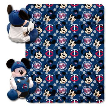 "Twins OFFICIAL Major League Baseball & Disney Cobranded, Mickey Mouse Hugger Character Shaped Pillow and 40""x 50"" Fleece Throw Set  by The Northwest Company"