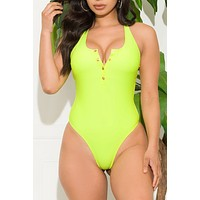 Lover's Beach Piece Swimsuit Neon Green