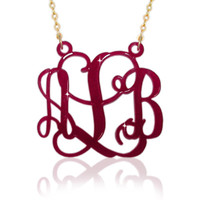 "Acrylic Monogram Necklace Dark Pink Color 1 .25 "" Inch Initials Pendant 3 Letters Jewelry Goldfield Chain Customized Personalized Name"