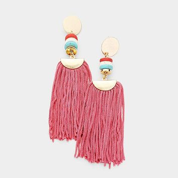 Bead Thread Fan Tassel Drop Earrings