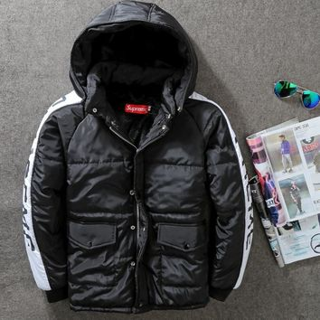 """SUPREME""Splicing letter print With thick cotton-padded clothes winter jacket coat"