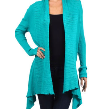 In Style Crochet Knit Long Teal Cardigan