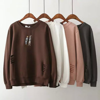 Ripped Cartoon Embroidery Pullover Sweatshirt