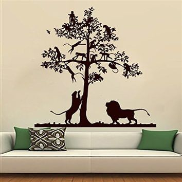 Wall Decals Lion Decal Tree Monkey Safari Landscape Vinyl Sticker Boy Girl Nursery Bedroom Kitchen Home Living Hall Decor Art Murals MN581